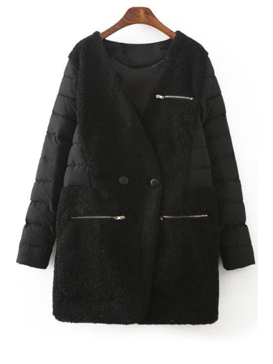 hot Spliced V-Neck Long Sleeves Down Coat - BLACK M