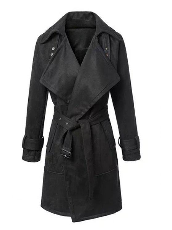 womens Lapel Neck Long Sleeve Faux Suede Coat - BLACK S