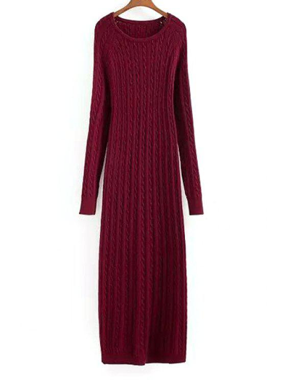 lady Wine Red Long Sleeve Sweater Maxi Dress - WINE RED M