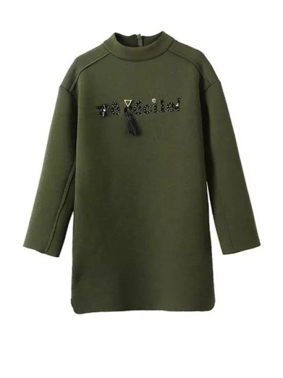 women Letter Beaded Stand Neck Long Sleeve Dress - ARMY GREEN S