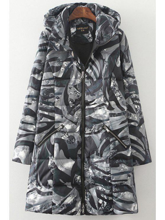 trendy Camouflage Print Hooded Long Sleeves Down Coat - COLORMIX S