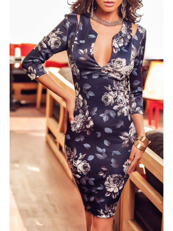 outfits Plunging Neck Floral Print Bodycon Dress - BLUE ONE SIZE(FIT SIZE XS TO M)