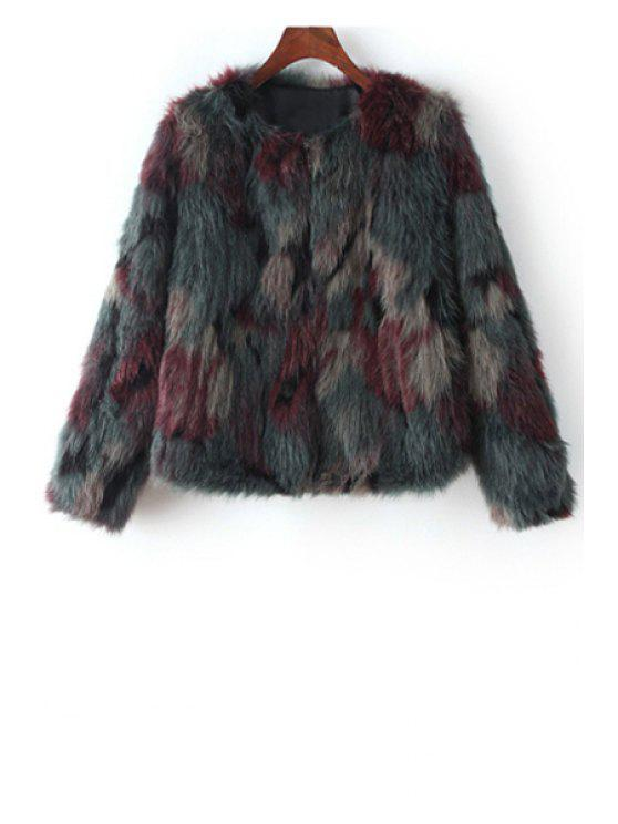lady Faux Fur Round Collar Long Sleeve Coat - GRAY M
