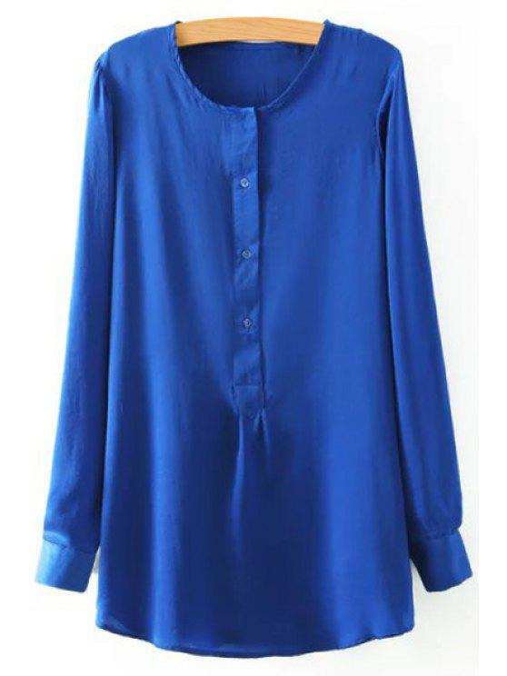 outfit Side Slit Solid Color Buttons Long Sleeves Blouse - BLUE M