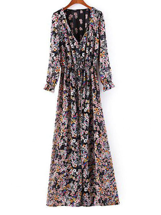 72a73b0ffa83 30% OFF] 2019 Tiny Floral V-Neck Long Sleeve Maxi Dress In BLACK | ZAFUL