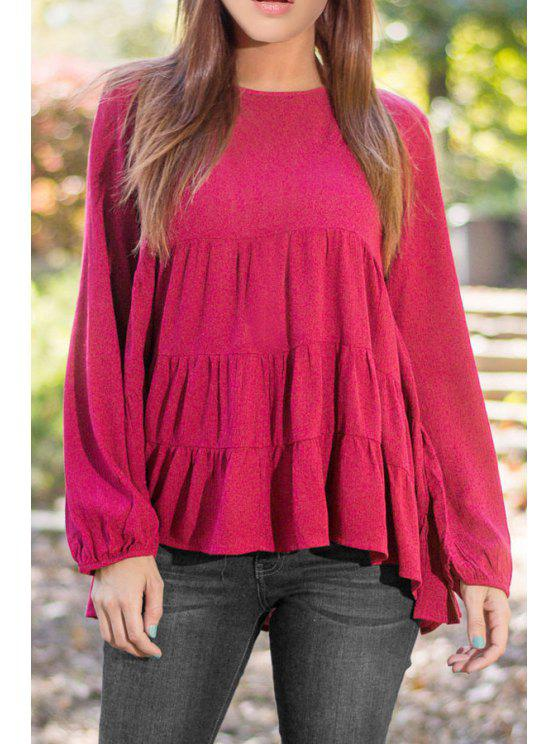womens Solid Color Ruffle Round Collar Long Sleeves Blouse - ROSE L