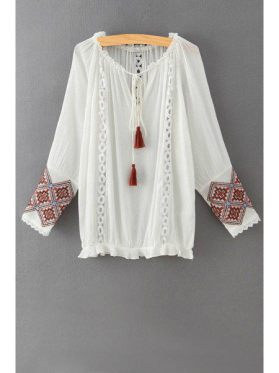 shop Ethnic Embroidered Long Sleeves Blouse - WHITE L