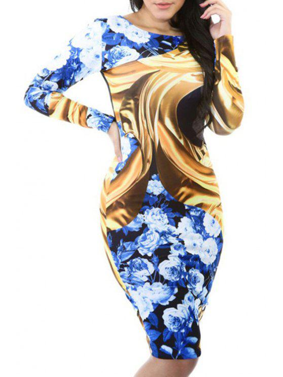 outfit Long Sleeve Floral Print Sheath Dress - BLUE M