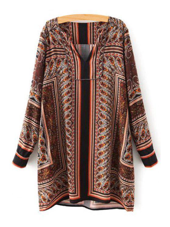 shops Retro Print V Neck Long Sleeve Loose Blouse - BROWN S