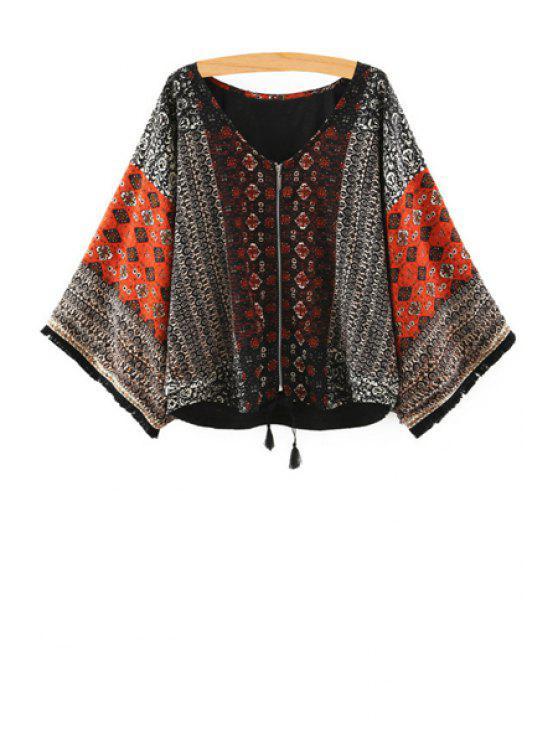 fashion Bat-Wing Sleeve Print Zipper Blouse - BLACK S