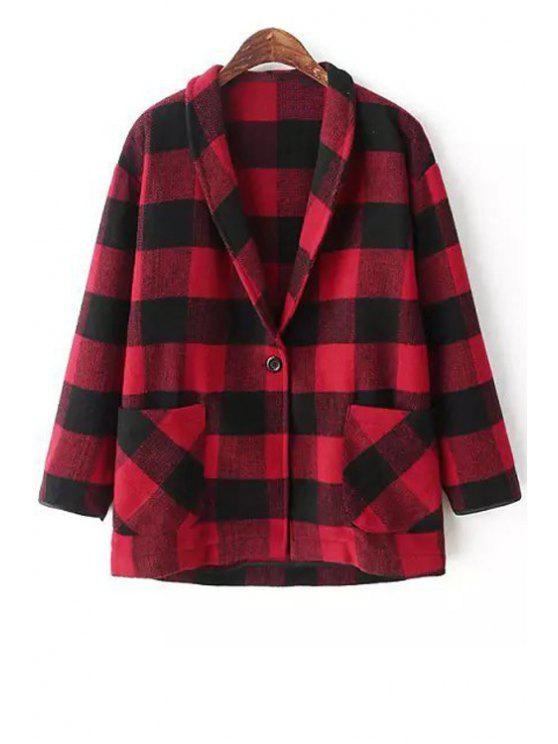 shop Shawl Neck Plaid Wool Blazer - RED WITH BLACK S