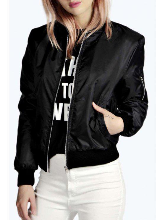 shop Pure Color Stand Collar Long Sleeves Jacket - BLACK S