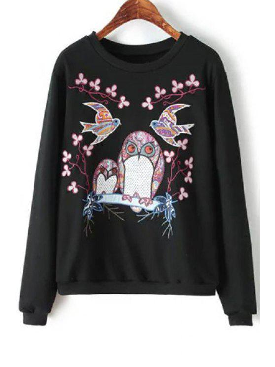 latest Night Owl and Bird Print Sweatshirt - BLACK S