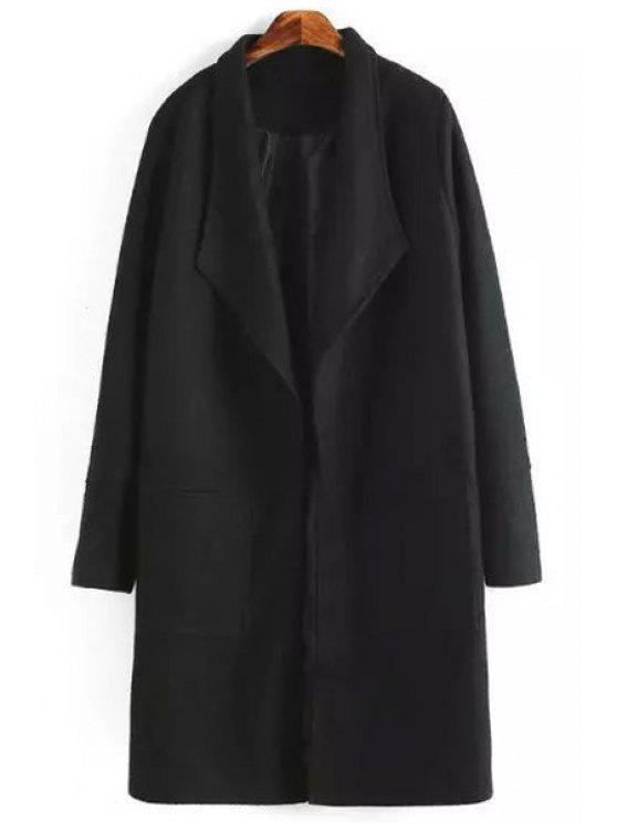 best Turn Down Collar Long Sleeve Pocket Coat - BLACK XL