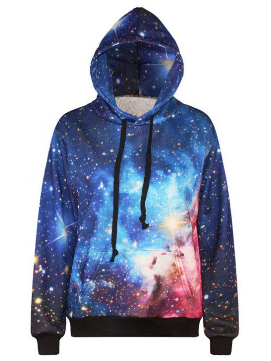 shop Starry Print Long Sleeve Pullover Hoodie - BLUE ONE SIZE(FIT SIZE XS TO M)