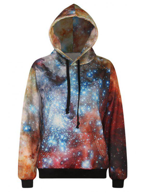best Galaxy Print Long Sleeve Pullover Hoodie - ORANGE ONE SIZE(FIT SIZE XS TO M)