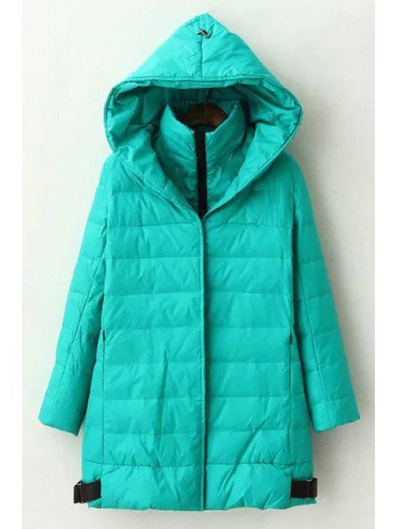 fancy Hooded Long Sleeve Green Quilted Coat - GREEN ONE SIZE(FIT SIZE XS TO M)