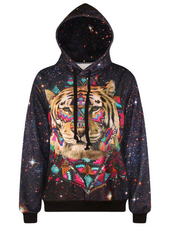 women Tiger Pattern Long Sleeve Pullover Hoodie - BLACK ONE SIZE(FIT SIZE XS TO M)