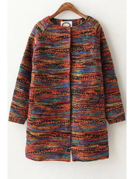 unique Round Neck Colorful Wool Coat - COLORMIX S