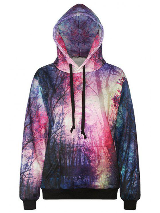 best Forest Print Long Sleeve Pullover Hoodie - RED ONE SIZE(FIT SIZE XS TO M)