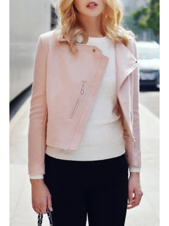 fashion Turn-Down Collar Zippered Pink Jacket - PINK S