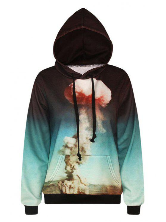 hot Mushroom Cloud Print Pullover Hoodie - GREEN ONE SIZE(FIT SIZE XS TO M)