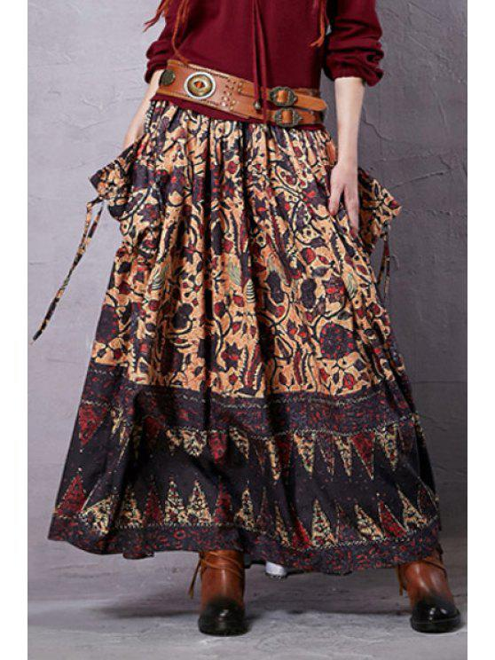 fashion Vintage Print Elastic Waist Skirt - BROWN M