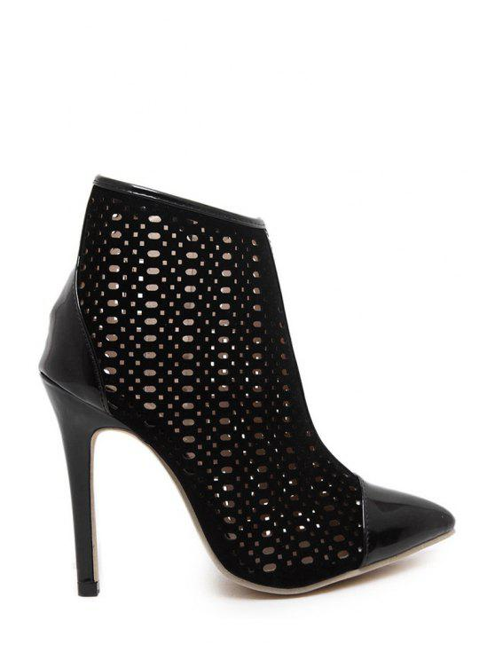 chic Pointed Toe Hollow Out High Heel Boots - BLACK 35
