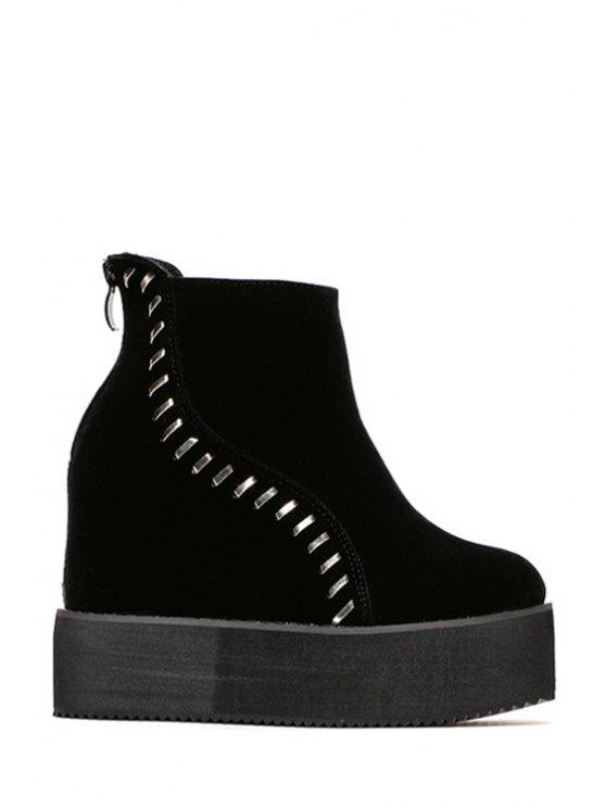 sale Platform Suede Hidden Wedge Short Boots - BLACK 34