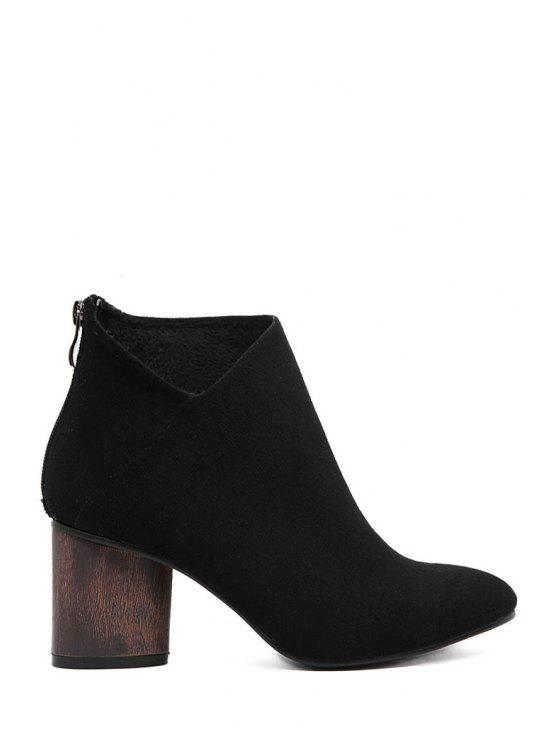 ladies Suede Solid Color Pointed Toe Ankle Boots - BLACK 34