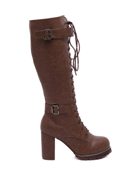 affordable Chunky Heel Criss-Cross Mid-Calf Boots - BROWN 35