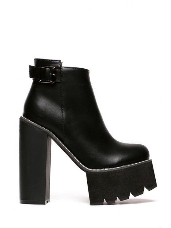 hot Buckle Platform Chunky Heel Ankle Boots - BLACK 34