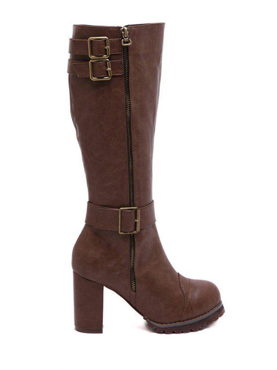 best Buckles Zipper Chunky Heel Mid-Calf Boots - DEEP BROWN 35