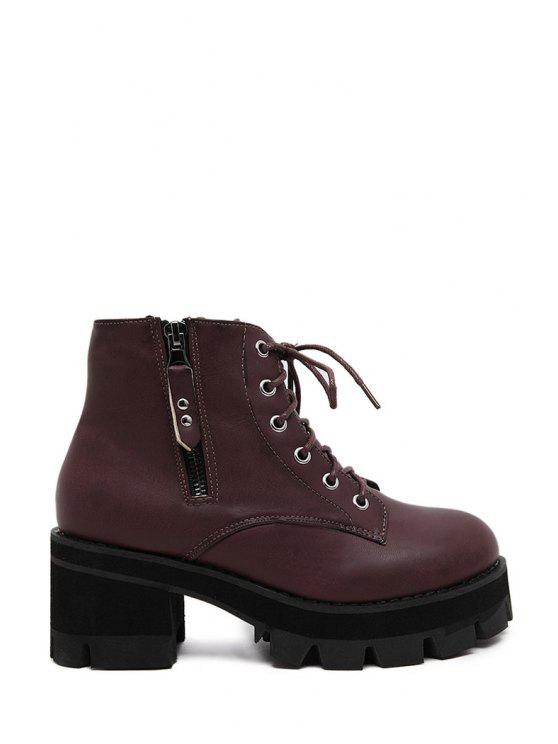fashion Platform Solid Color Criss-Cross Short Boots - WINE RED 35
