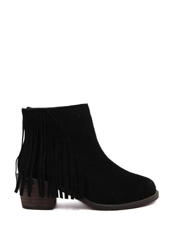 hot Suede Fringe Chunky Heel Short Boots - BLACK 35