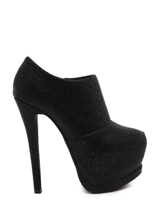 hot Rhinestone Platform Solid Color Ankle Boots - BLACK 34