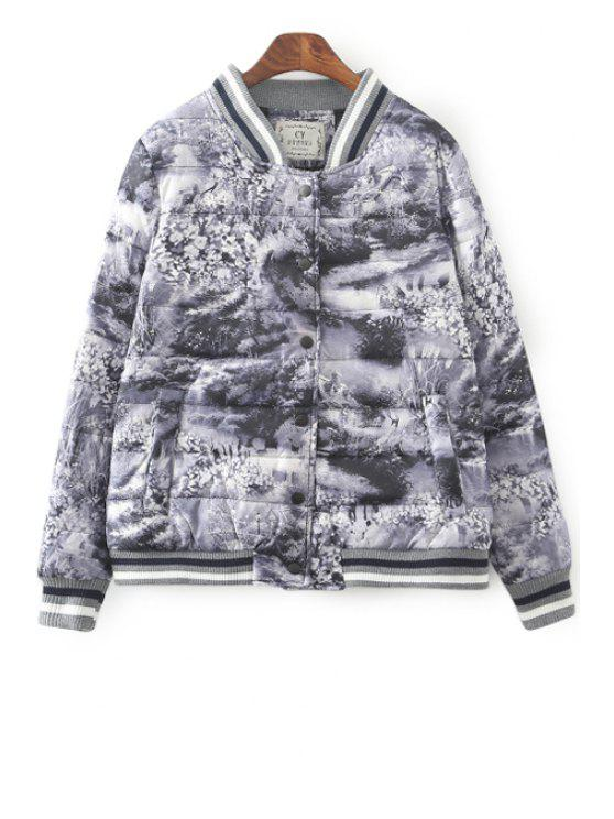 sale Stand Collar Printed Long Sleeves Down Coat - GRAY S