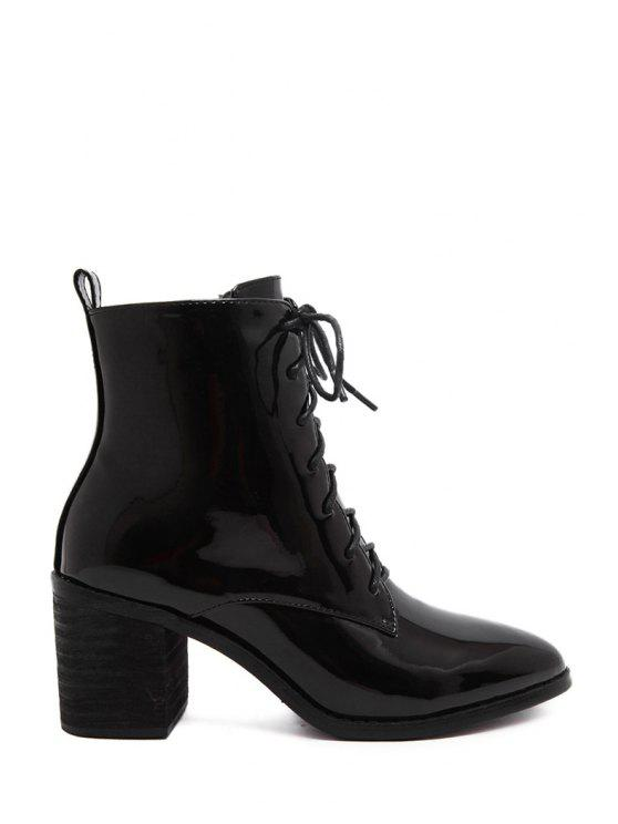 latest Black Pointed Toe Patent Leather Short Boots - BLACK 36