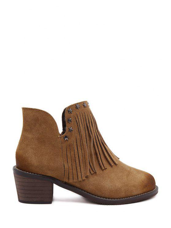 unique Star Suede Fringe Ankle Boots - BROWN 35