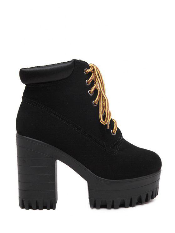 chic Platform Solid Color High Heel Boots - BLACK 35