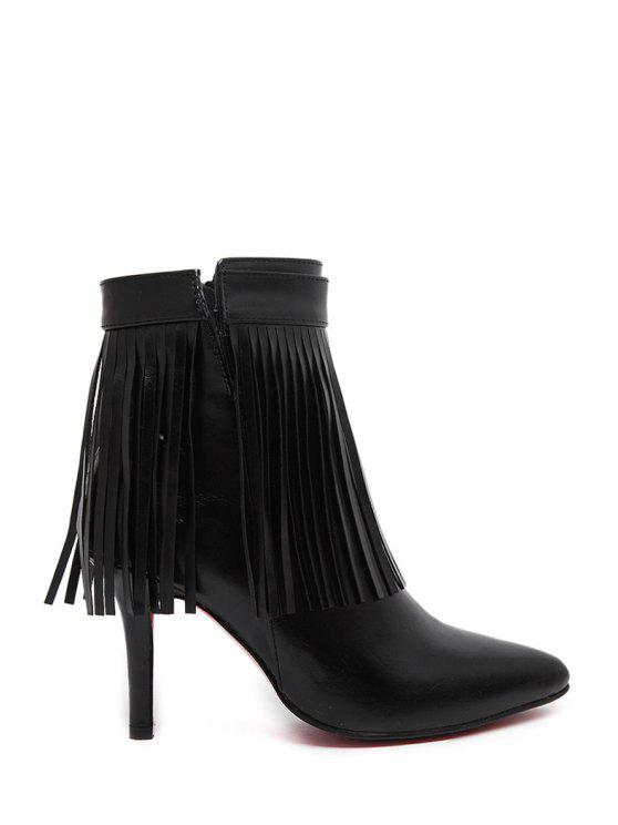 affordable Fringe Pointed Toe Solid Color Ankle Boots - BLACK 35