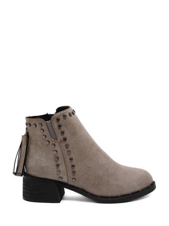 lady Tassels Rivet Solid Color Ankle Boots - GRAY 35