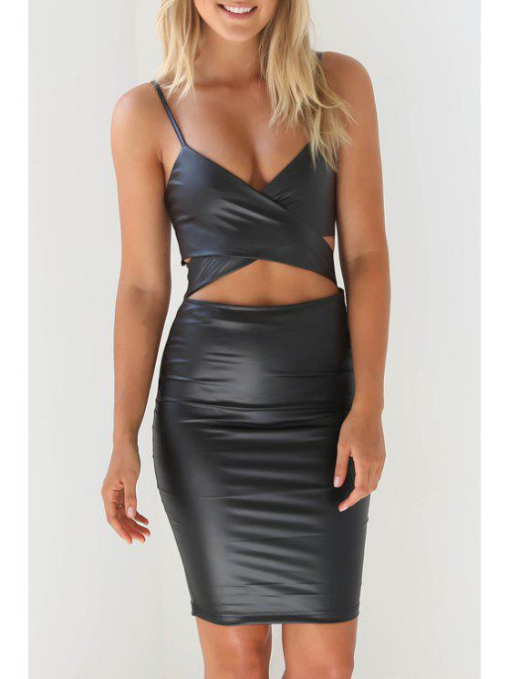 fashion Cut Out Back Slit Spaghetti Straps Leather Dress - BLACK L