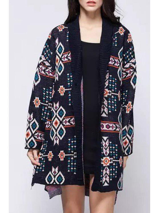 affordable Shawl Neck Jacquard Long Cardigan - BLUE ONE SIZE(FIT SIZE XS TO M)