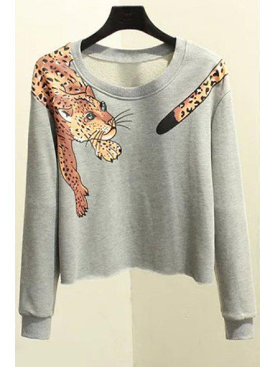 fashion Round Neck Leopard Print Sweatshirt - GRAY L