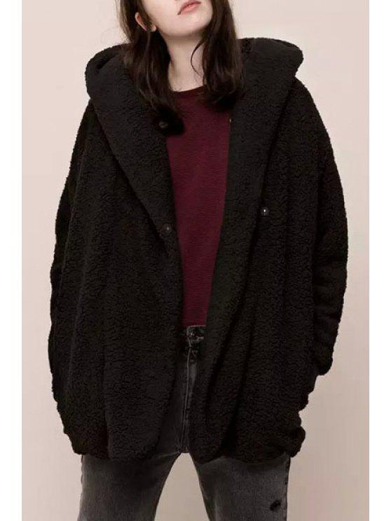 sale Hooded Long Sleeve Black Fuzzy Coat - BLACK S
