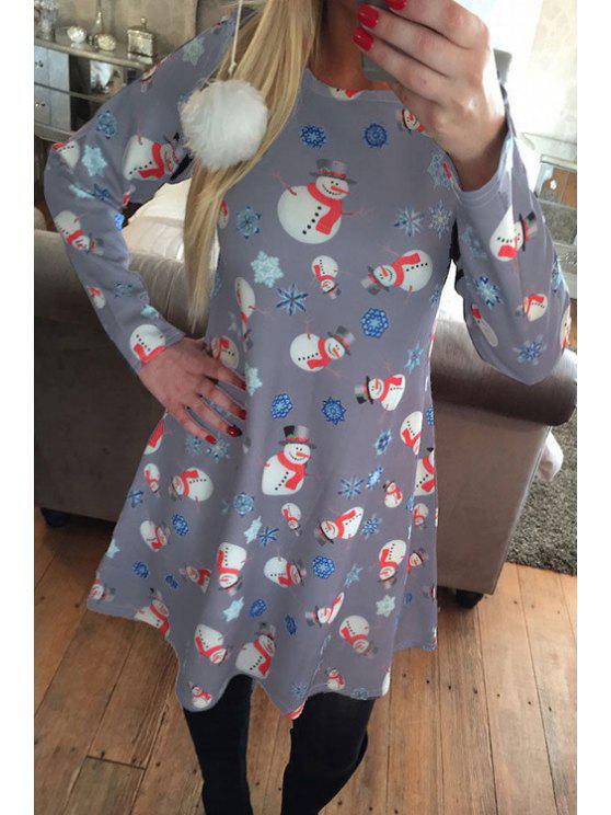 5c0fda9f1ac1 30% OFF] 2019 Santa Claus Snowflake Print Long Sleeves T-Shirt Dress ...