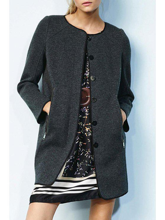 outfit Zip Pockets Single-Breasted Coat - GRAY XS