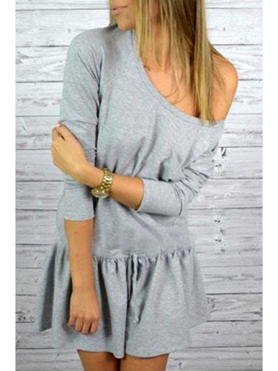 outfit Solid Color Pocket Drawstring Sloping Collar Dress - GRAY S