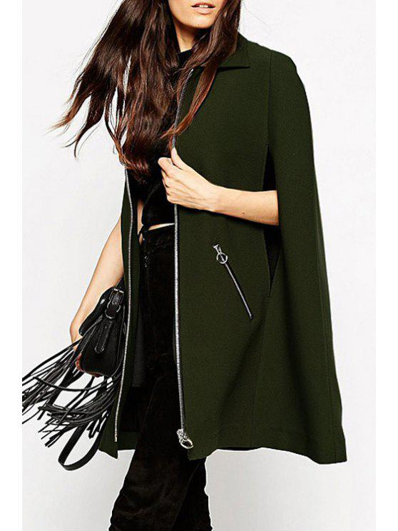 shops Cape Design Zip Pockets Green Coat - ARMY GREEN M
